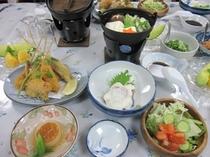 晩ご飯 湯豆腐と串揚げ