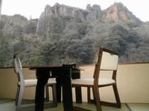 お部屋からの冬の立久恵峡