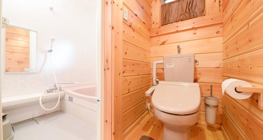 *【ログコテージ・ロフト】内風呂とウォシュレット付トイレ付