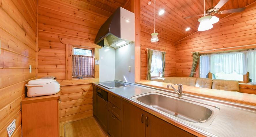 *【ログコテージ・トップライト】ベッドルーム+バーカウンタ付LDK12畳+バストイレ+天窓付テラス