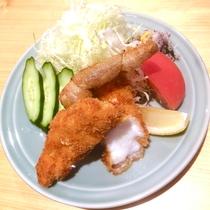 【ご夕食一例】天然うちわ海老を使用したフライ