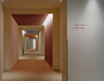 彩り鮮やかなアクセントを配した明るい客室廊下