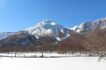 冬の上高地からの焼岳