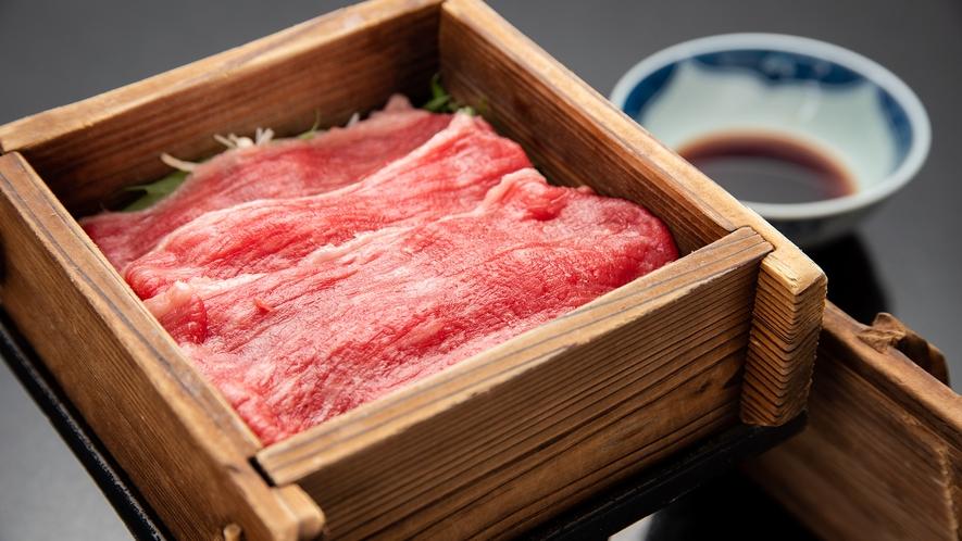 *【夕食一例】ふくしま牛のせいろ蒸し。素材本体の旨味が楽しめ、ふっくらとした仕上がり。