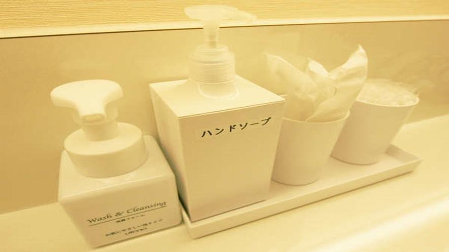 脱衣所(無料サービス)洗顔フォーム・ハンドソープ・綿棒・ドライヤー