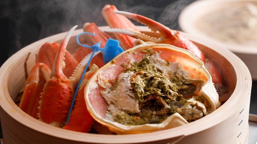 蒸篭で蒸しあげる「湯蟹」イメージ