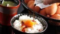 【朝食】但馬産こしひかりと地元・但熊のこだわり卵<卵かけごはん>~料理長厳選の牡蠣醤油とともに~