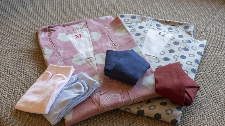全客室/ゆあむオリジナルロゴ入り浴衣(デザイナーズ)女性はかわいらしいピンク、男性はさっぱりとした青
