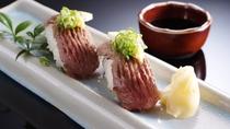 【別注料理】地元銘柄・但馬牛炙り握り寿司(2貫)※要事前予約