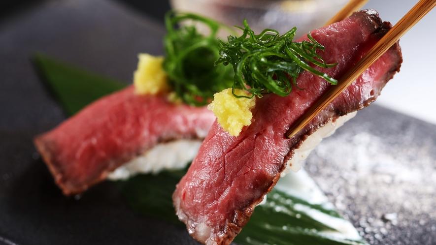 【地元銘柄】但馬牛握り寿司2貫 とろけるような味わい