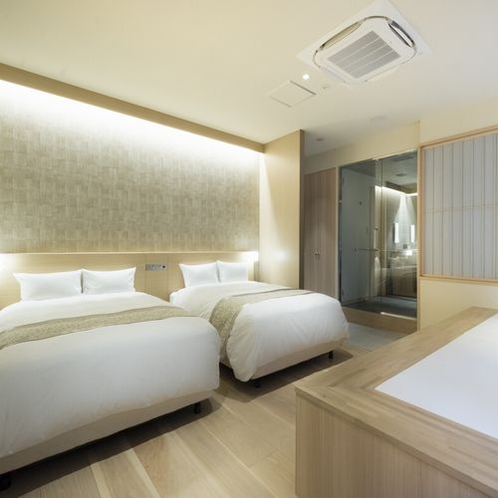 Room in Bath Twin with Spas(ベッド幅140cm×2台)1室1名様~4名様