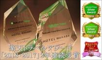 楽天トラベルアワード銀賞を2018年・2017年2年連続受賞致しました。