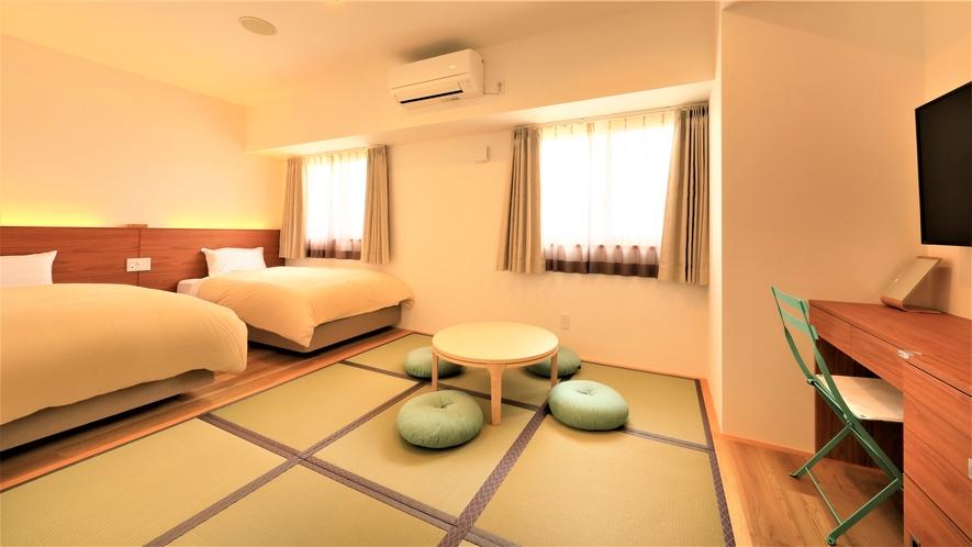 【新館和洋室】2021年6月に出来たばかりのこちらのお部屋は4名様までお泊り頂けます。