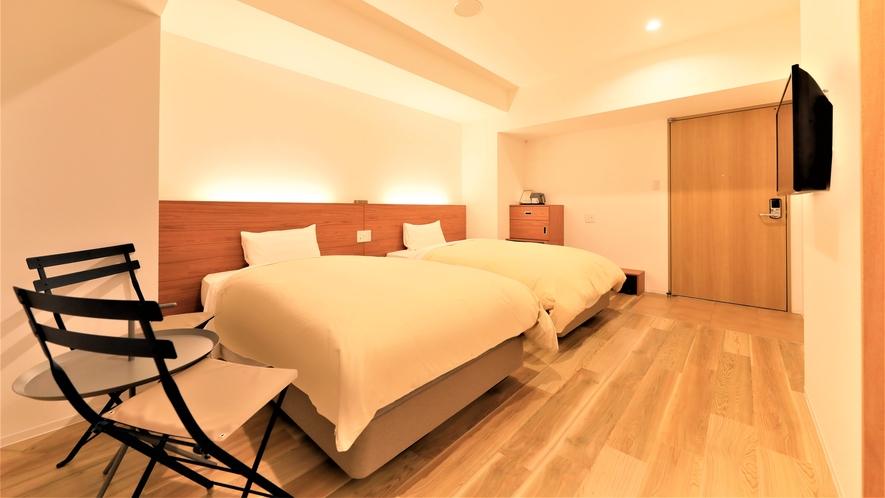 【新館バリアフリールーム】2021年6月に出来たばかりのツインルームタイプのお部屋。