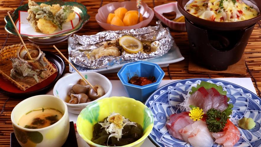 夕食一例_創作海鮮料理 ちょっと珍しい貝や魚も楽しめます♪