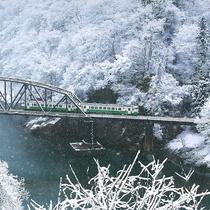 *【JR只見線】冬 只見川第一橋梁ベストフォトスポットからの一枚
