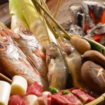 【山、海、川、旬の幸炭火焼】お料理グレードアップ!山、海、川、旬の幸をご堪能ください。