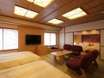 ≪9階ジャパニーズウッドモダンフォースタイプ≫ベッドはシモンズ製140㎝幅ダブルサイズを4台配置
