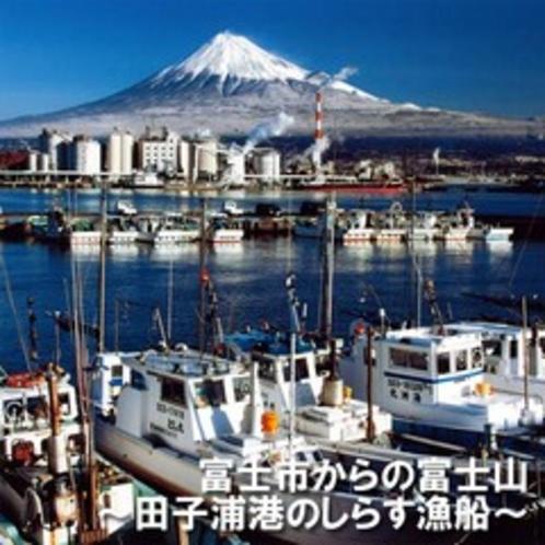 ■富士市からの富士山 田子の浦港のしらす漁船(お車で20分)