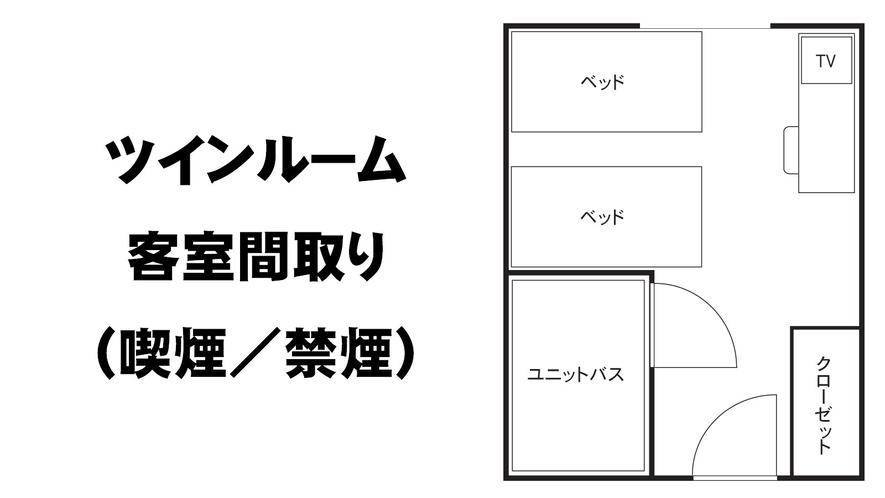 ●ツインルーム喫煙/禁煙 客室間取り