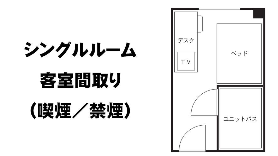 ●シングルルーム喫煙/禁煙 客室間取り