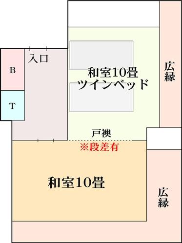 【二間部屋C/コーナールーム】海側角部屋10畳+和室ツイン 平面図
