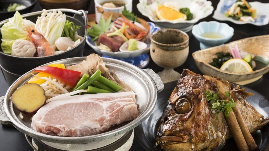 鯛カブト荒煮+能登豚ステーキ付