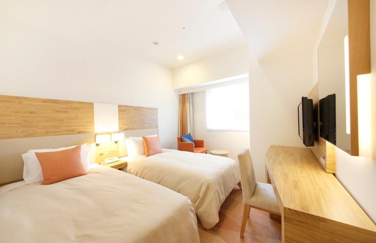 コンフォートツインルーム 18.6平米/シモンズ社製シングルサイズベッド、幅105cm