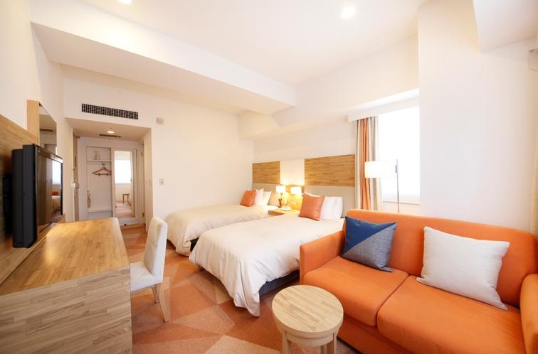 ユニバーサルツインルーム 26.9平米/シモンズ社製シングルサイズベッド、幅105cm