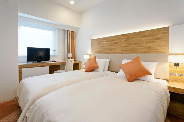 ツインルーム 15.1平米/シモンズ社製シングルサイズベッド 幅97cm2台隣接