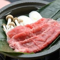 【夕食】季節の一例 牛肉朴葉焼