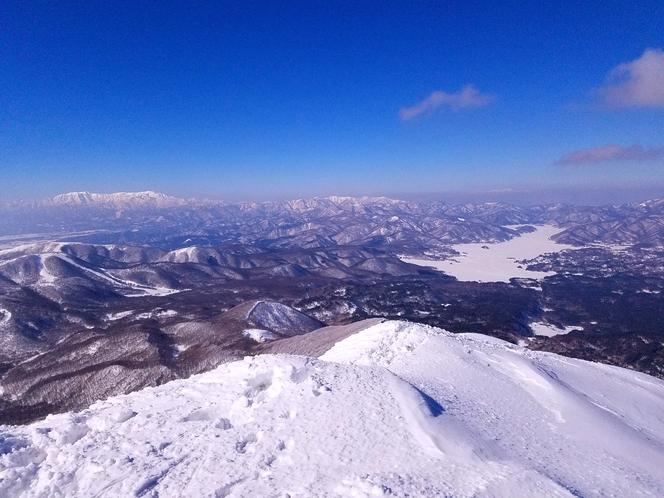真冬の磐梯山山頂から