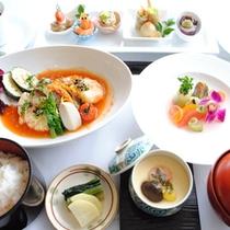 【ご夕食一例】メインを肉料理または魚料理からお選びいただけます。(画像は魚料理)