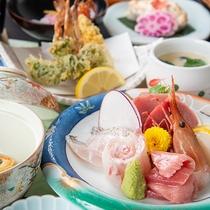 *お夕食「三崎膳(11品)」当館で一番品数の多いグレードアップコースです。