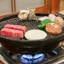*[夕食一例]自分で焼いて焼きたてを食べられるのが嬉しい♪
