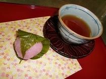 桜餅とお茶