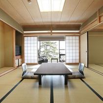 【本館和室10畳(湖側)】お部屋の目の前が白砂青松の琵琶湖畔で広縁からの眺めも良好です。