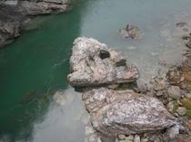 仁淀川町の名野川エリア 川の真ん中には ジオ的な魚の頭っぽいのが