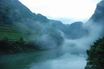 霧のかかる仁淀川 集落と茶畑③