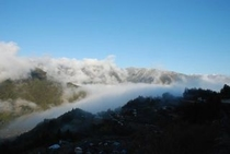 ひょうたん桜で有名な桜地区 見える景気は対岸の宗津地区の山7