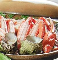 香住ガニとサザエの陶板焼き
