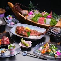 「あわび&牛」のダブルステーキで美味しさと楽しさ2倍!!※舟盛りは3名以上