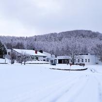 冬のホテルエントランス