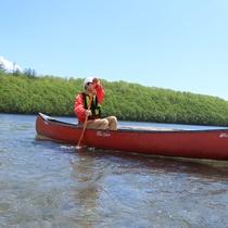サホロ湖ではカヌーで遊ぼう♪