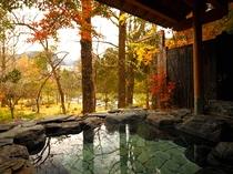 手を伸ばせばすぐ届くところに森を臨める「感動露天風呂」