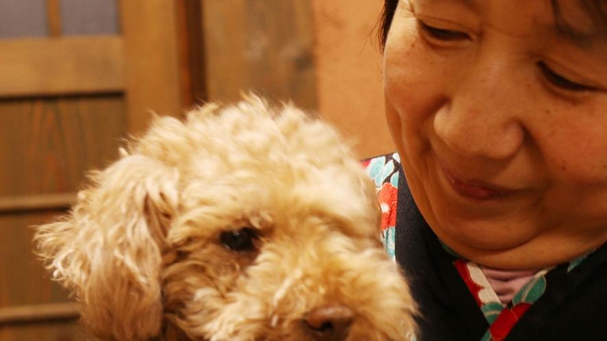 女将と看板犬のミルキー