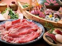 但馬牛しゃぶ鍋&鮮魚の舟盛「満腹プラン」