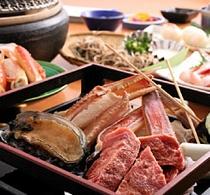 日帰り昼食プラン。人気モン集合!!アワビ+お肉+カニを炭火焼き会席