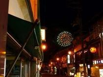 温泉街からの花火