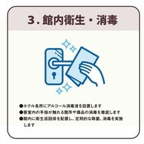 3、「館内衛生・消毒」 アルコール消毒液設置と衛生巡回係による除菌・消毒を実施